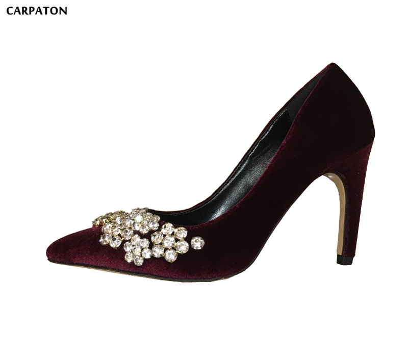 Carpaton Bling Bling Crystal Flower Decorations High Heel Shoes 2018 Newest Velvet Woman Pumps Sexy Pointed Toe Wedding Heels newest solid flock high heel pumps woman