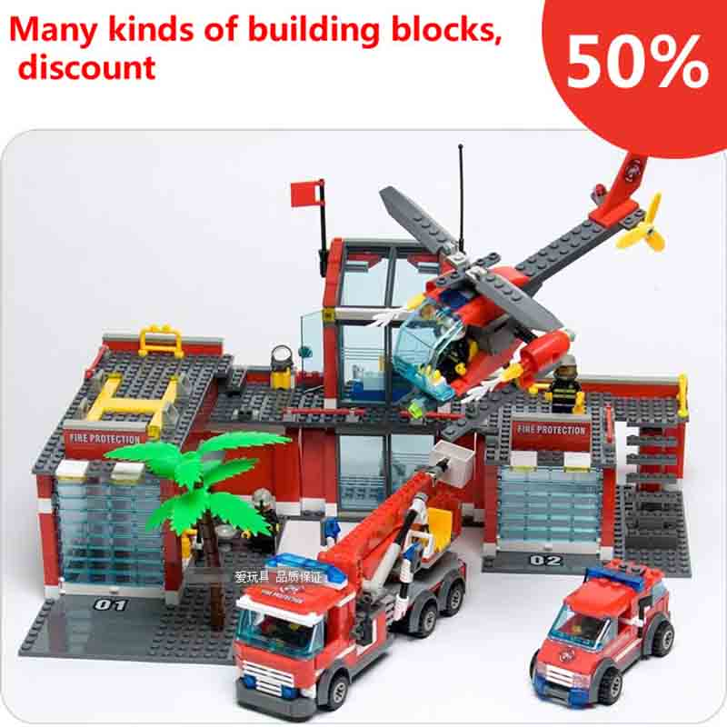 new classic city firefighter station 774pcs set building blocks educational bricks kids toys gift citys compatible with legoes