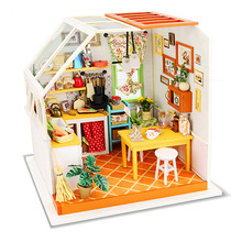 Robotime Wood Kitchen Toy DIY 3D Dollhouse Puzzle Simulation Kitchens Model Sets Creative Wooden Toys For Adults Crafts