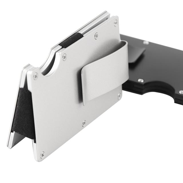 1pc popular aluminum slim mini man stainless steel elastic band slim money clip credit card holder - Money Clip Credit Card Holder