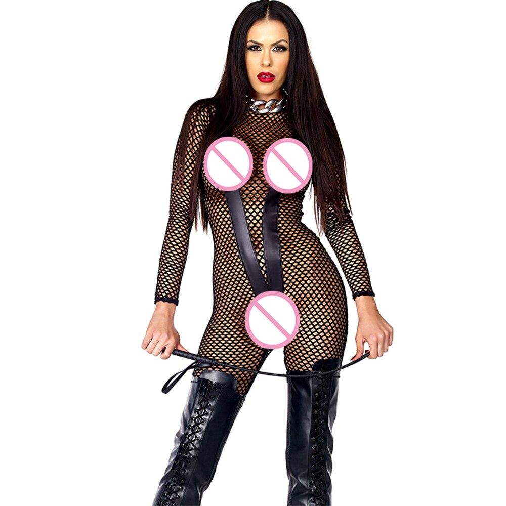 Grande taille voir à travers évider résille body Lingerie Sexy en cuir Patchwork nuit Clubwear combinaison noir vinyle Catsuit
