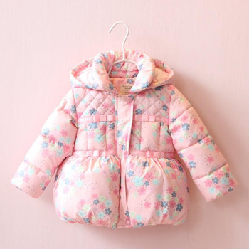 8c18d6387 YP311790105 Retail 2016 Winter Girl Jacket Floral Hooded Appliques Bow Girl  Coat Fleece Worm Kids Outerwears Girl Clothes us$ 36.00/piece