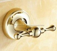 Polished Gold Robe Hooks Brass Coat Hook Hanger Round Base Towel Hanger Bathroom Hardware Robe Hook Nba236