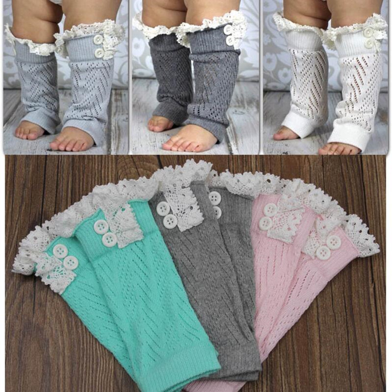 Fashion Winter Warm Baby Girls Leg Warmers Lace Trim Buttons Knitted Boot Cuffs Infants Toddlers Knee High Boot Socks Gaiters pair of stylish button lace embellished hemp flowers knitted leg warmers for women
