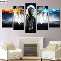 5pcs 5D DIY Diamond Painting full drill Angel Girl Wings Fire and Ice painting 3D Embroidery Cross Stitch Mosaic home Decoration