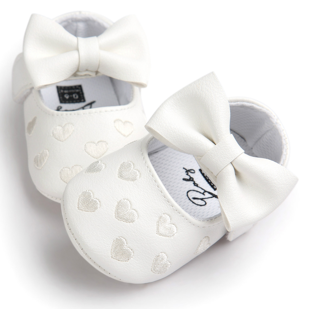 Awatop Baby White Baby Shoes Princess Bow Girl Baby Toddler Shoes Casual Soft Non-slip Newborn Shoes First Walker