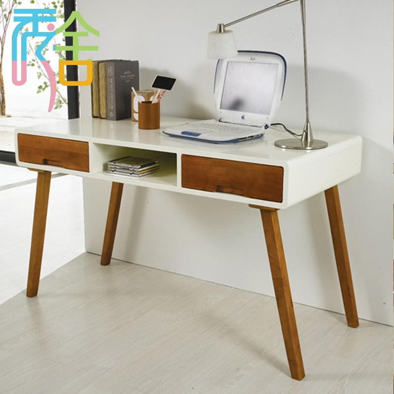 Korean study show homes modern minimalist wood desk with drawers     Korean study show homes modern minimalist wood desk with drawers IKEA  computer desk 1 2 m Nordic desk in Computer Desks from Furniture on  Aliexpress com