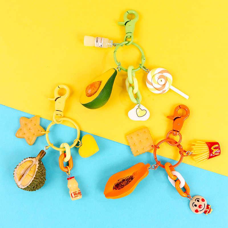 Durian Frutas Abacate Keychain dos desenhos animados Mulheres Meninas Saco de Biscoitos Pirulito Ornamentos Pingente de Chave Da Cadeia de Crianças Brinquedos Chaveiro Jóias