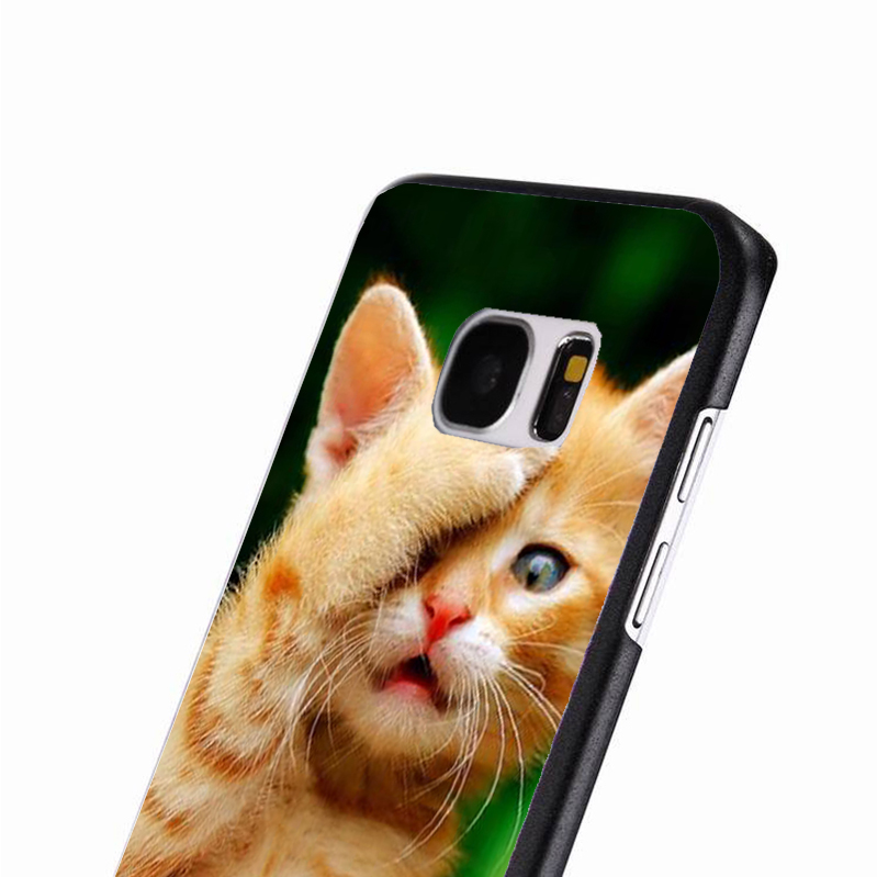 LvheCn phone case cover For Samsung Galaxy S3 S4 S5 mini S6 S7 S8 edge plus Note2 3 4 5 7 8 Cute Ginger Kitten Cat Funny Playing