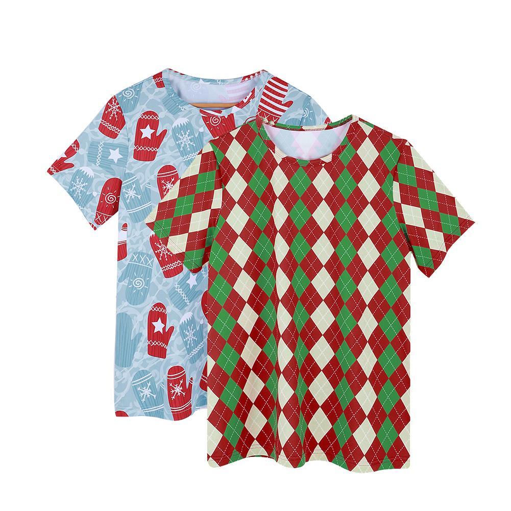 Christmas Colorful Rhombus Gloves Men T-Shirt Short Sleeve Round Neck Top Tee