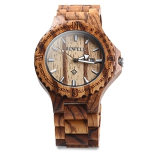 2017 Hot sell Men Dress Watch BEWELL Men Wooden Quartz Watch with Calendar Display Bangle Natural Wood Watches Relogio