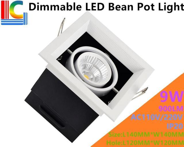 Dimmable 9W LED Bean Pot Light COB LED Grille Lamp Highlighted LED Bean Gallbladder Lamp CE RoHS FCC AC85-265V Approve 4PCs/Lot