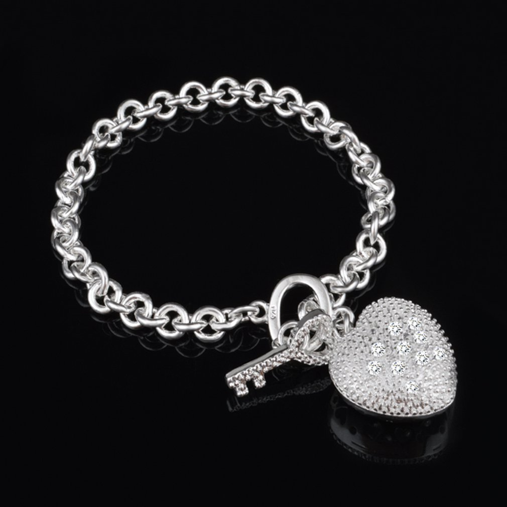 Heart Shape Pendant Exquisite Hand Chain Fashion Pattern Stylish Elegant Shiny Women Bracelet  Party Jewelry thumbnail