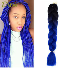 DIFEI Dirty Black Big Dice Two-Tone Gradient Reggae Hair Braided Hair Heat Synthesis Hair Extended Clip(China)