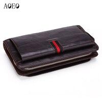AOEO Men Clutch Bags Genuine Leather Phone Handbag Long Wallet For Man Zipper Coin Wallets Anti theft Calfskin Male Purse