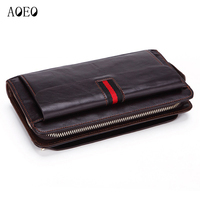 AOEO Men Clutch Bags Genuine Leather Phone Handbag Long Wallet For Man Zipper Coin Wallets Anti theft Calfskin Male Purse