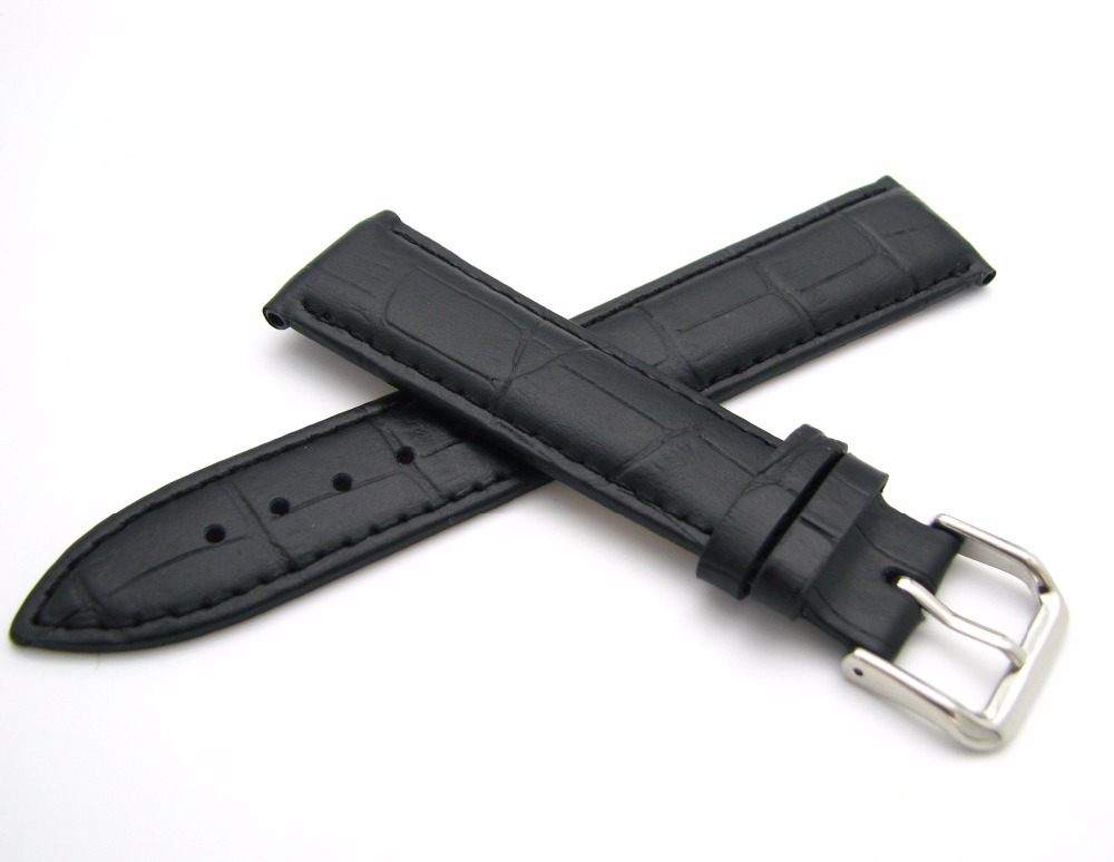 12 14 16 18 20 22 24mm Men Women Genuine Cowhide Leather Black Classic Alligator Grain Watch Band Strap Belt Silver Pin Buckle 247 classic leather