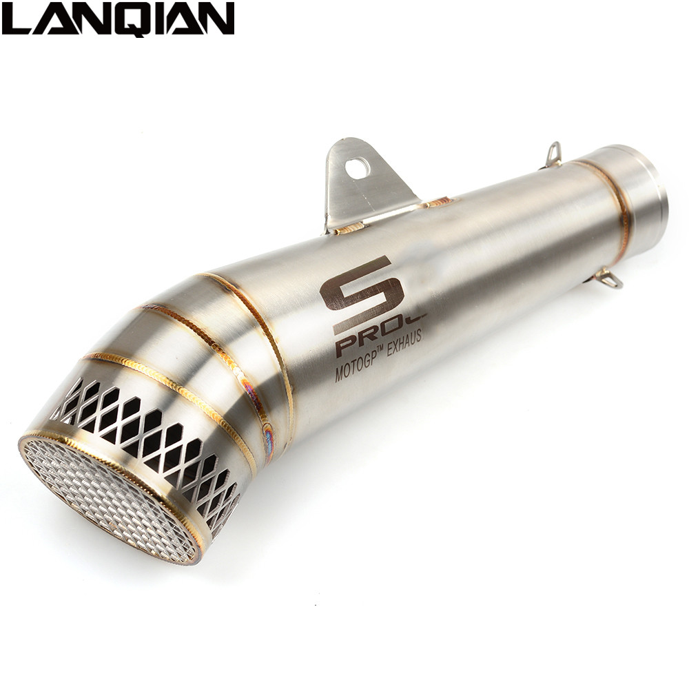 51MM Laser Marking Motorcycle SC Exhaust Pipe Modified Exhaust Scooter MOTO Exhaust For DUCATI HONDA CBR600RR CBR1000RR CB500F free shipping carbon fiber id 61mm motorcycle exhaust pipe with laser marking exhaust for large displacement motorcycle muffler