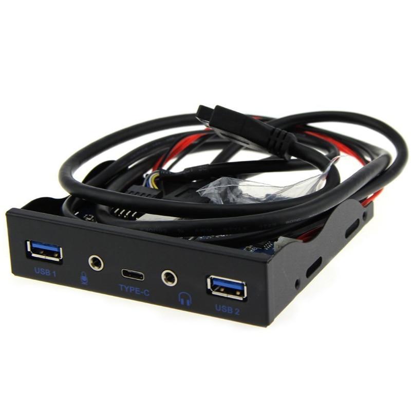 "Internal USB 3.1 Gen 1 Type C + 2 x USB 3.0 Port Hub Front Panel w/ HD Audio Mic Jack for Desktop PC Case 3.5"" Floppy Bay Mount"