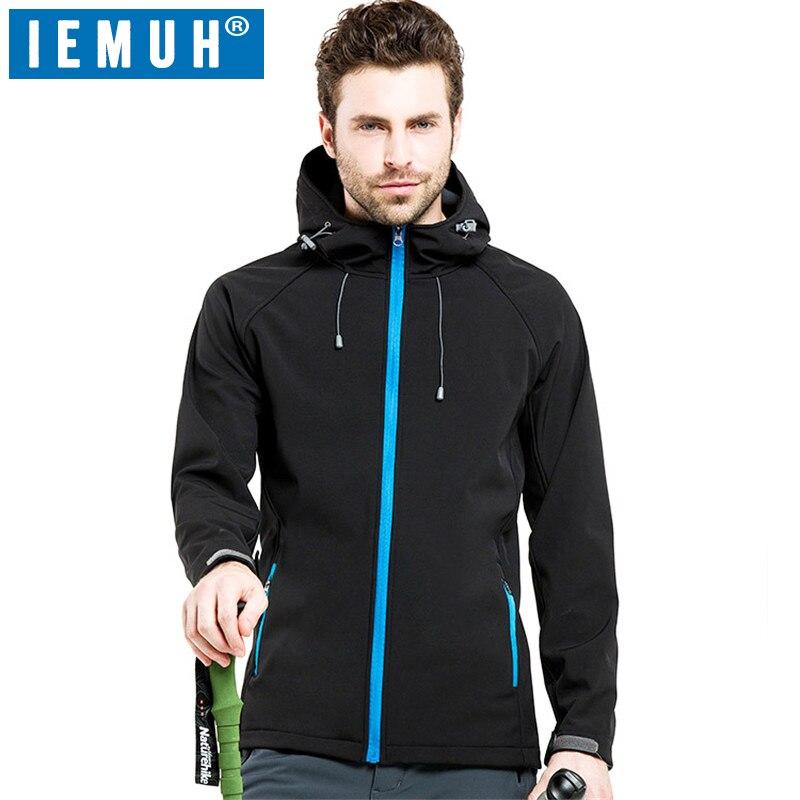 IEMUH Outdoor Soft Shell Fleece Hiking Jackets Men Sportswear Thermal Hunt Hiking Sport Jacket Windproof Warm Winter  Waterproof