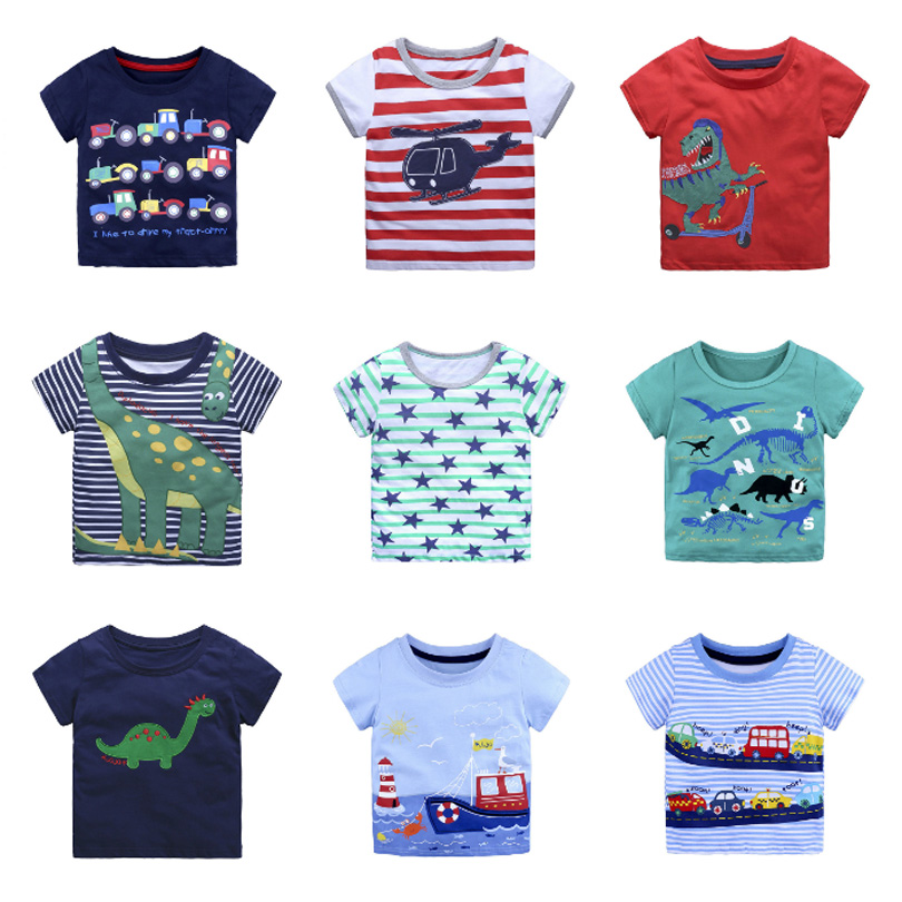 Childrens T-Shirt 100/% Cotton Short Sleeved Two Piece Summer Round Neck Unisex 2-8 Years Old