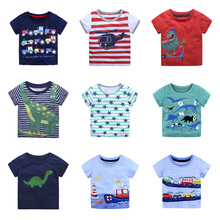 2019 Children Animals T-shirt Tops Kids Baby Boys Clothing Cotton T Shirts Summer Clothes Cartoon Dinosaur Car Boat Striped Tee
