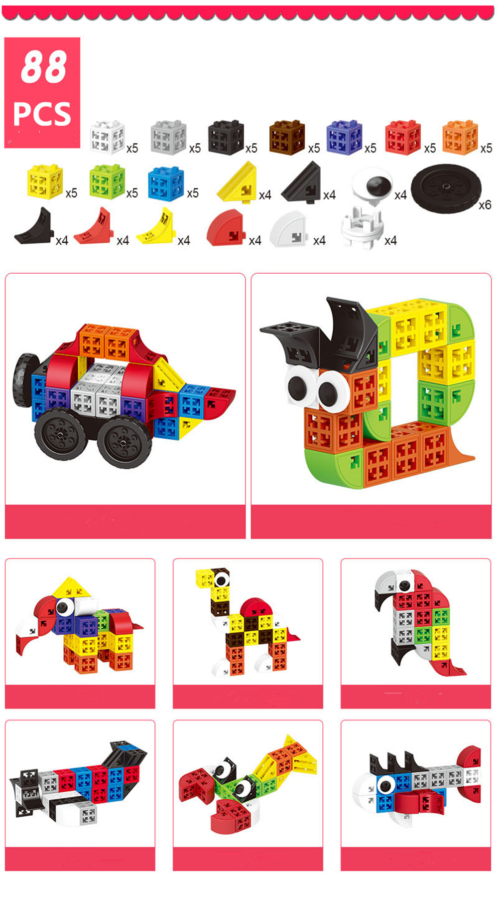 34/48/88/138/188pcs Blocks Cubes Unit Plastic Interlocking Construction Model Building Set of Early Educational Toys For Child 11