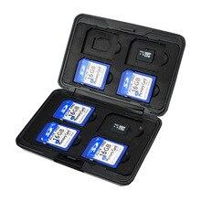 цена на Portable Black Aluminum Memory Card Case 16 Slots (8+8) for Micro SD SD/ SDHC/ SDXC Card Storage Holder New Card Case