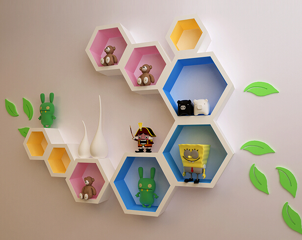Creative plaid TV background wall paint decorative storage partition wall mount rack / shelving hexagon hexagon night glow decorative wall sticker