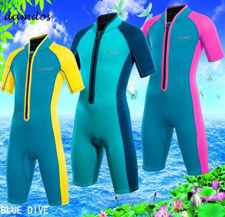 Bikini 2019 2mm combinaison de plongée enfants maillots de bain garçons maillot de bain combinaison de surf enfants réchauffement surf plage robe maillot de bain
