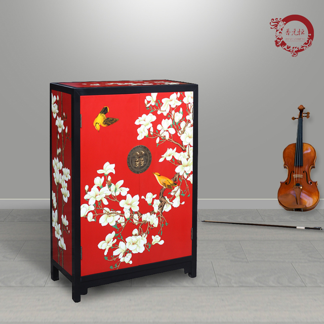 Jinyuan Heng New Chinese Lacquer Furniture Hand Painted Wood Red Magnolia