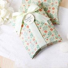 50pcs/lot New Flower Pillow Box Ribbon Bow Present Carton Pouch Kraft Paper box Wedding Favors Gift Boxes Wedding Party Supply