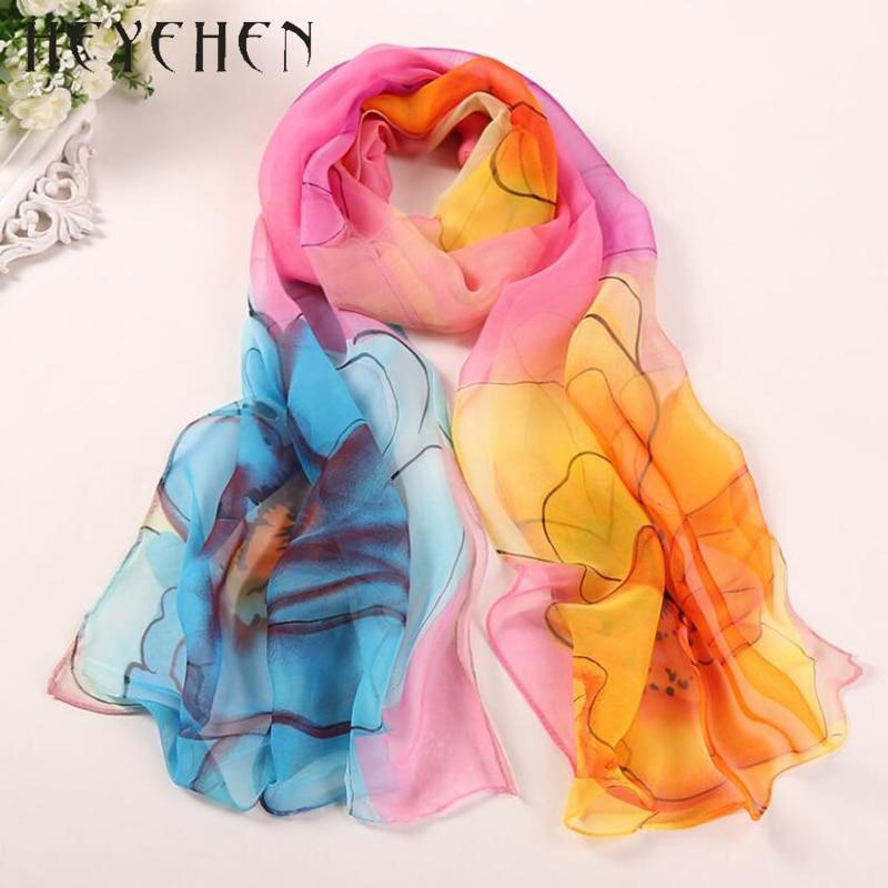 2017 New Design Chiffon Georgette Silk Women Scarf Flower Gradient Color Bandana Summber Beach Sarong Elegant Scarf&Shawl HY66