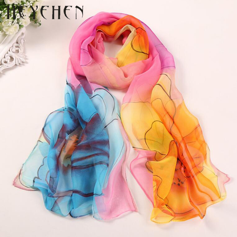 2017 New Design Chiffon Georgette Silk Women Scarf Flower Gradient Color Bandana Summber Beach Sarong Elegant Scarf&Shawl HY66