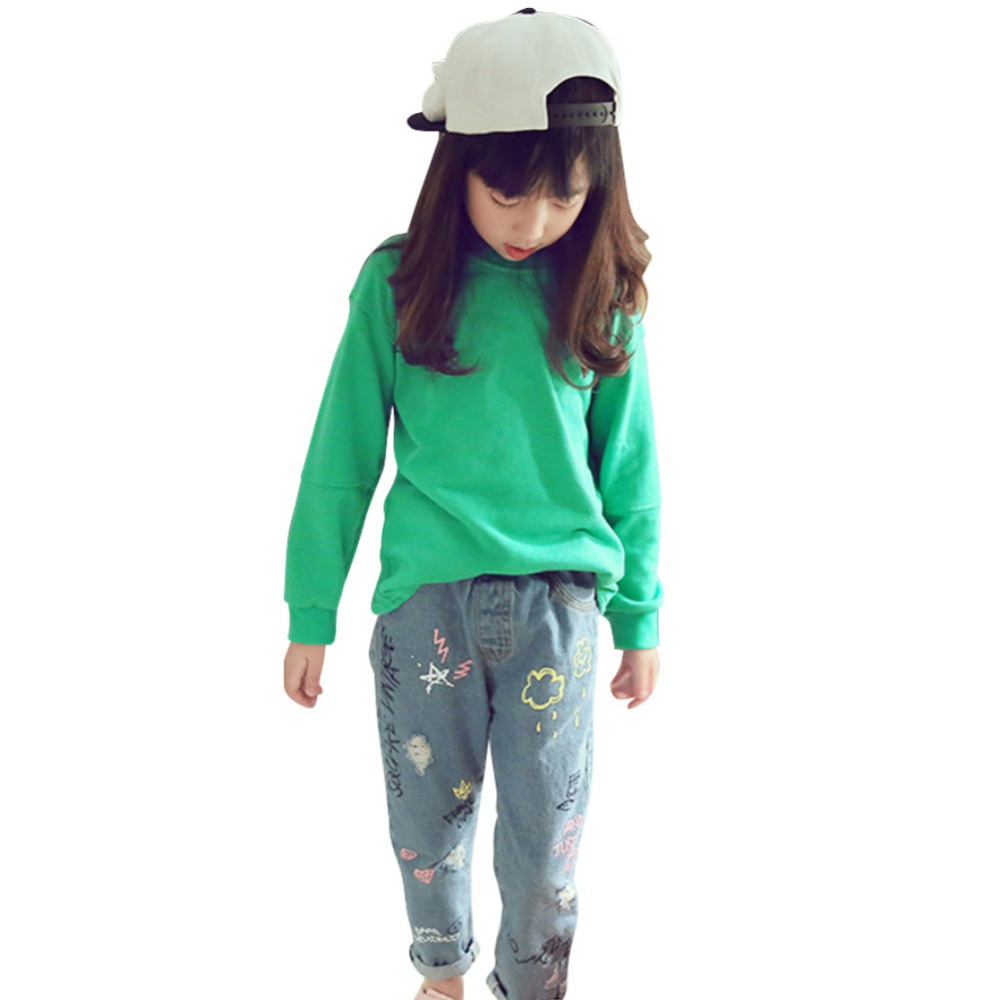 2-9 T Frühling Sommer Mädchen Jeans Kinder Kinder Lange Elastische Taille Feste Denim Hosen Dünne Hosen Neue