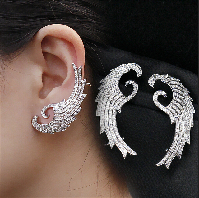 Us 26 75 Aliexpress Luxury 925 Sterling Silver Stone Micro Pave Setting Angel Wings Ear Cuff Earrings Fashion Women From Reliable