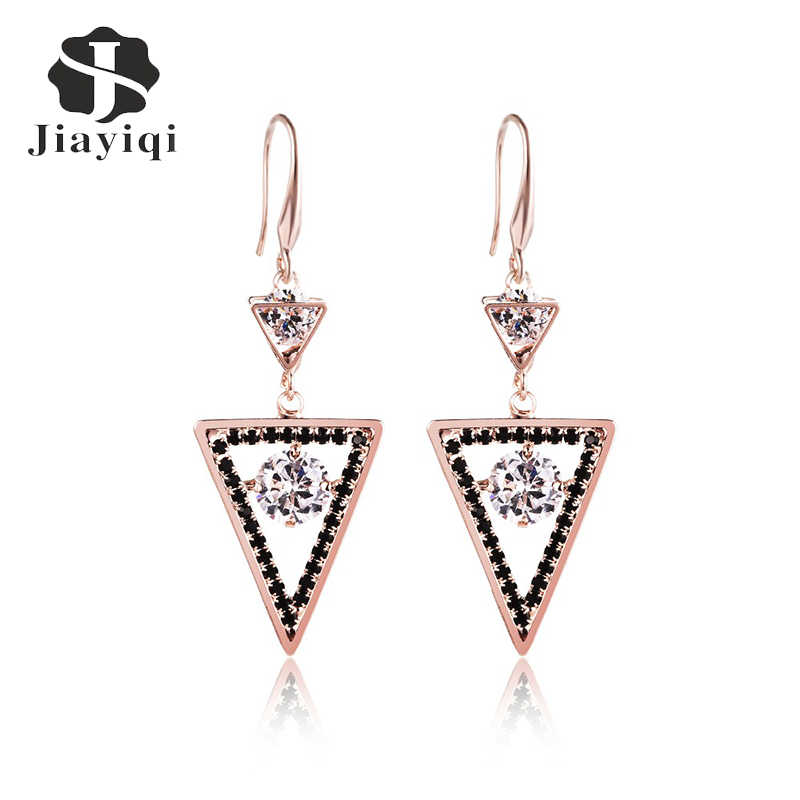 New Design Hollow AAA+ Big CZ Crystal Triangular Geometric Black Edge Drop Floating Charms Women Party Jewerly EH1068