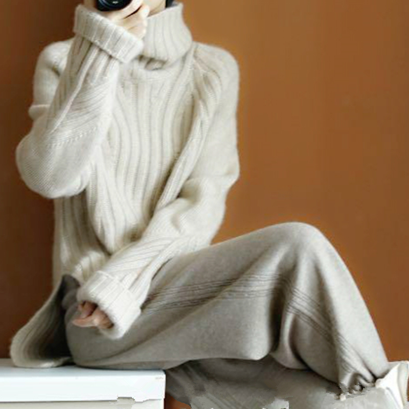 New Autumn and Winter Heavy Thick Pure Cashmere Sweater Female High Collar Version of the Lazy