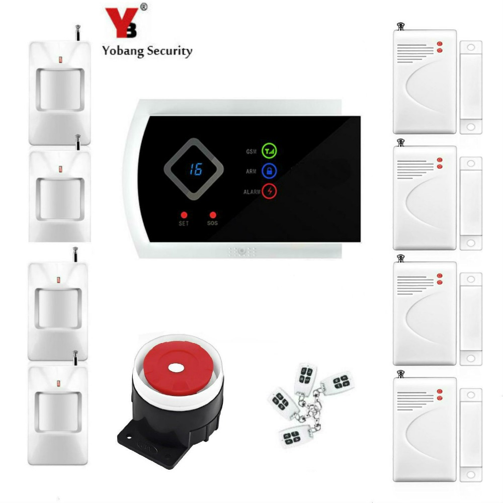 Yobang Security Home Alarm System Russian English Voice Auto dial GSM Security System 433Mhz GSM SMS alarm APP remote control 433mhz wireless android ios app remote control home security wifi alarm system gsm sms auto dial support home automation control