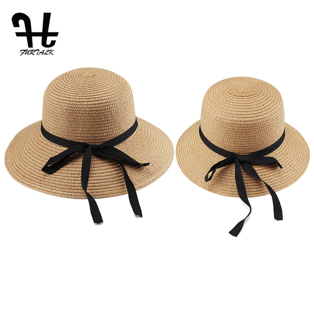 e3719ad0079 FURTALK Summer Hat for Women Straw Hats Travel Bucket Beach Hat Panama  Parent-child Summer Hats 2019 Summer UV Protection Cap