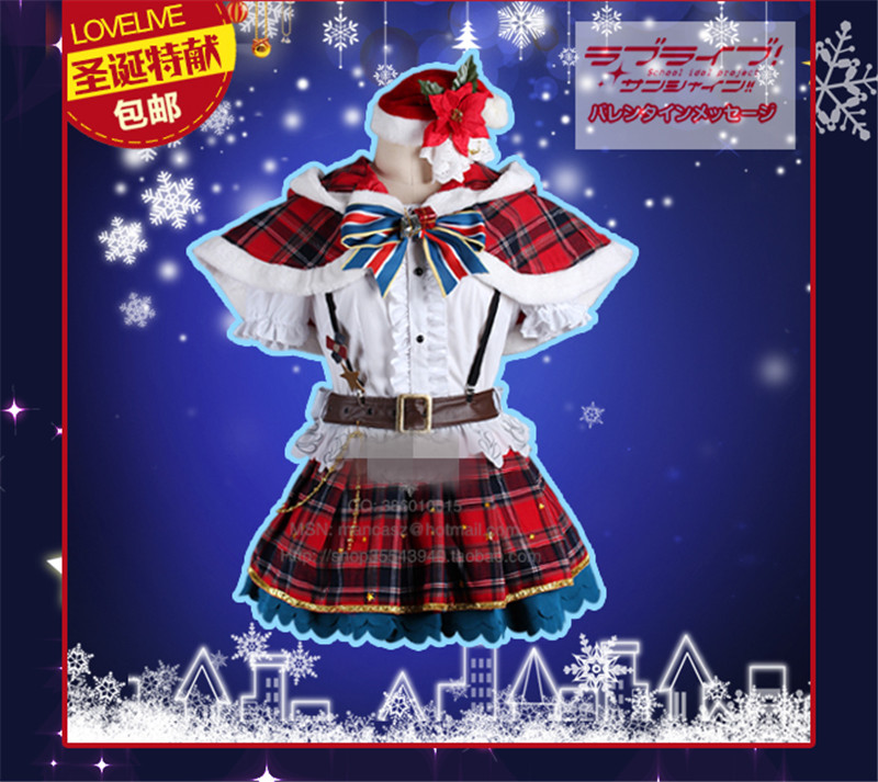 Aqours Love live sunshine!  Kunikida Hanamaru Christmas Dress Autumn Winter Cosplay Costume O