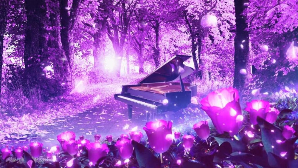 China Girl Wallpaper Full Hd 5d Diamond Embroidery Full Gear Purple Flowers Dream Piano