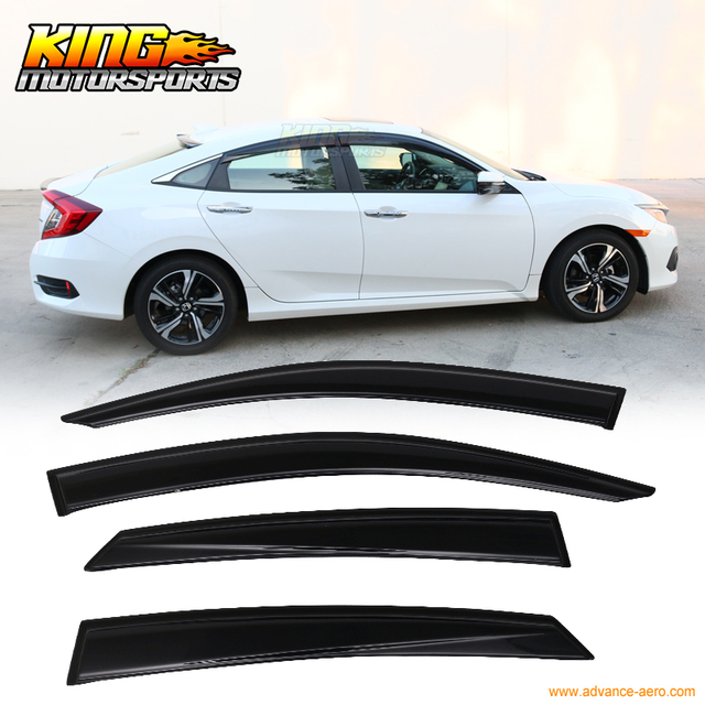 For 2016 2017 Honda 10th Gen Civic X Sedan OE Smoke Tinted Sun Rain Guard Window Visors