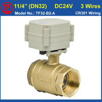 1 1 4 DC24V 3 Wires Brass Motorized Control Valve Brass Bore Size 29mm With Indicator