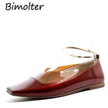 Bimolter New Fashion Handmade Genuine Leather&PVC Women Shoes Patchwork soft Cowhide Ladies Flat Free shipping FC061
