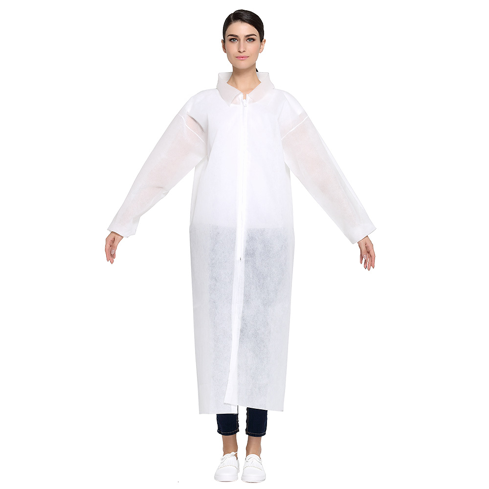 Disposable White Coat Non-woven Protective Clothing One-time Overalls Visit Service Experimental Dust-proof Clothes