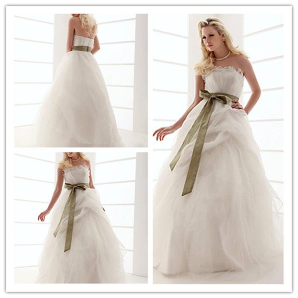 Strongly Strapess Floor Length Organza White Green Ribbon Wedding ...