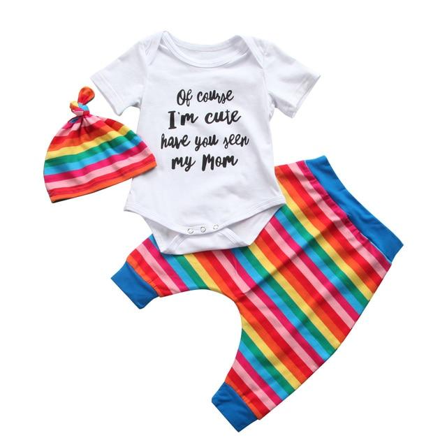 99aa6ca88 Lovely Rainbow Striped Newborn Kids 3PCS Infant Baby Boy Girl Romper+Long  Pants+Hat Set