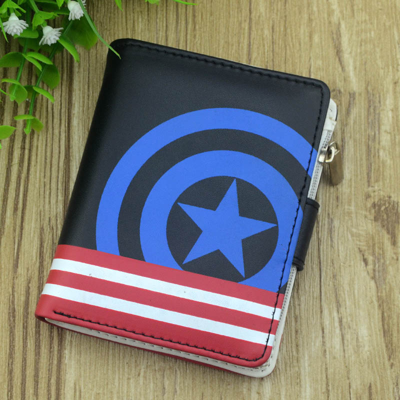 New Black Short Captain America Zero Wallet High Quality Fate Stay Night Purse ONE PIECE Zipper Pocket Gintama Money Bag fate stay night fate zero anime cosplay wallet oxford short thin women men coin purse free shipping