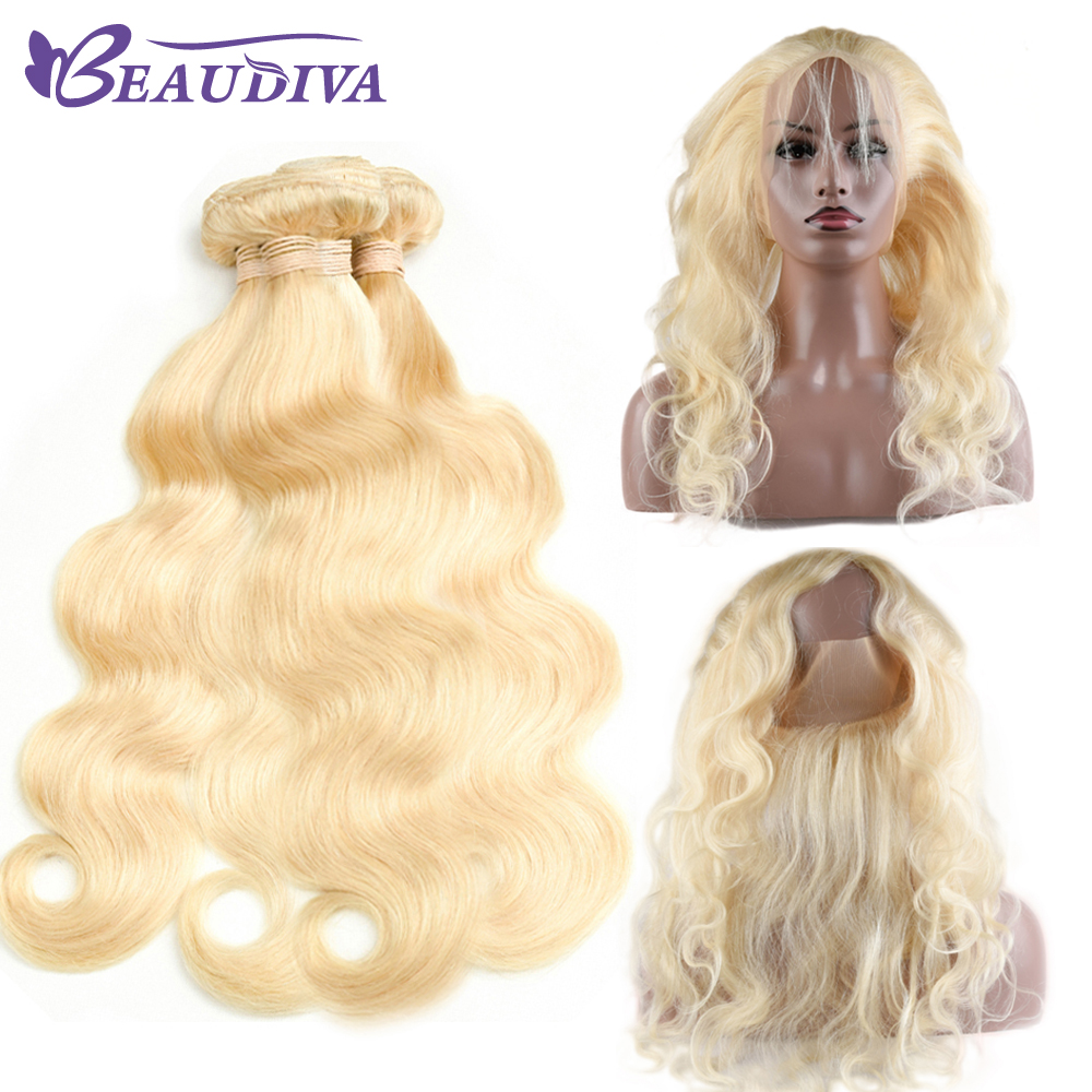 Beaudiva Pre-Colored 613 Blonde Brazilan Raw Hair Body Wave 4 Bundles With 360 Lace Fron ...